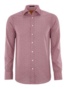Ditsy print 3 button cuff formal shirt