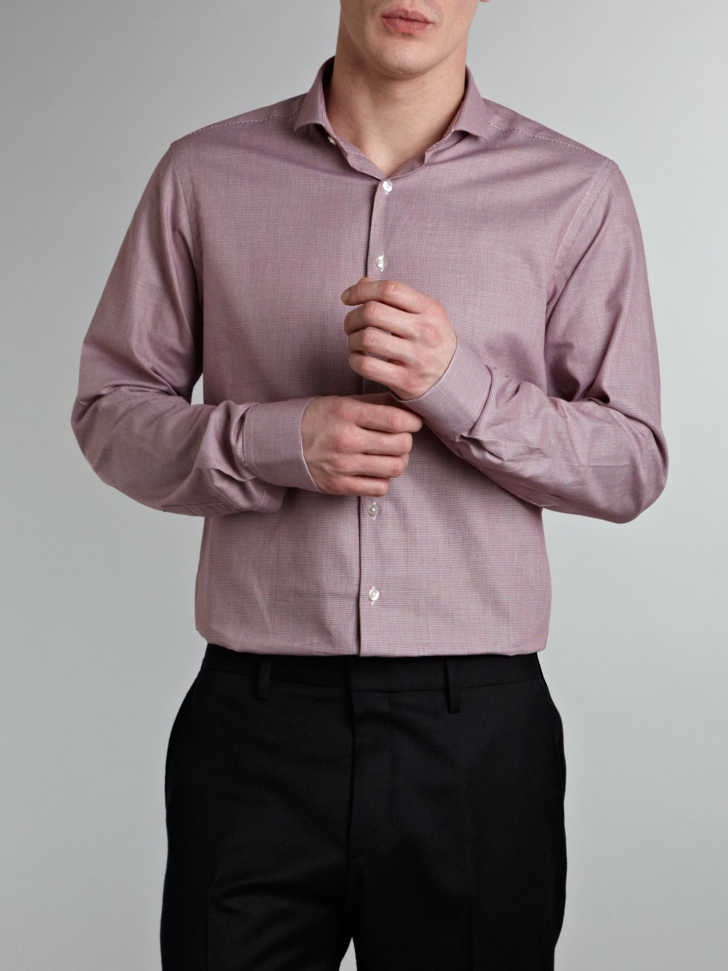 Contrast panel slim fit poplin formal shirt