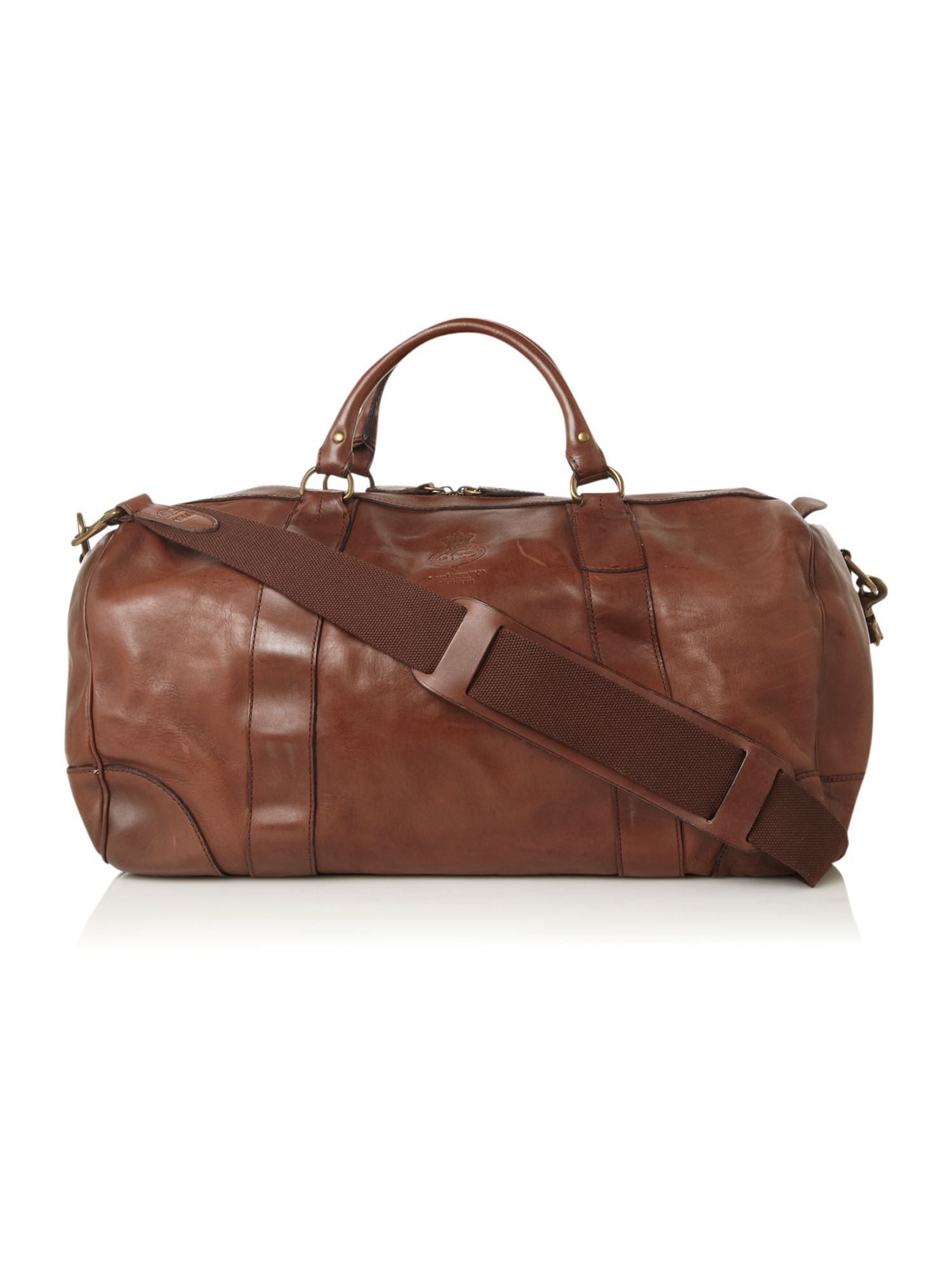 Leather carry on holdall
