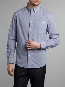Regular fit gingham long sleeved logo shirt