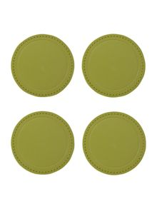 Fern faux leather coasters set of 4
