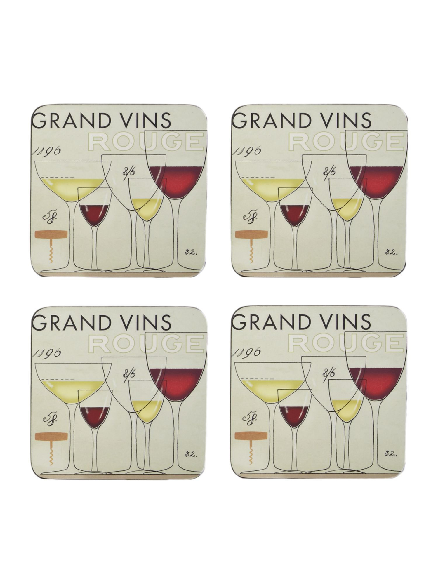 Grand vin coasters set of 4