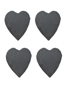 Slate heart coaster set of 4