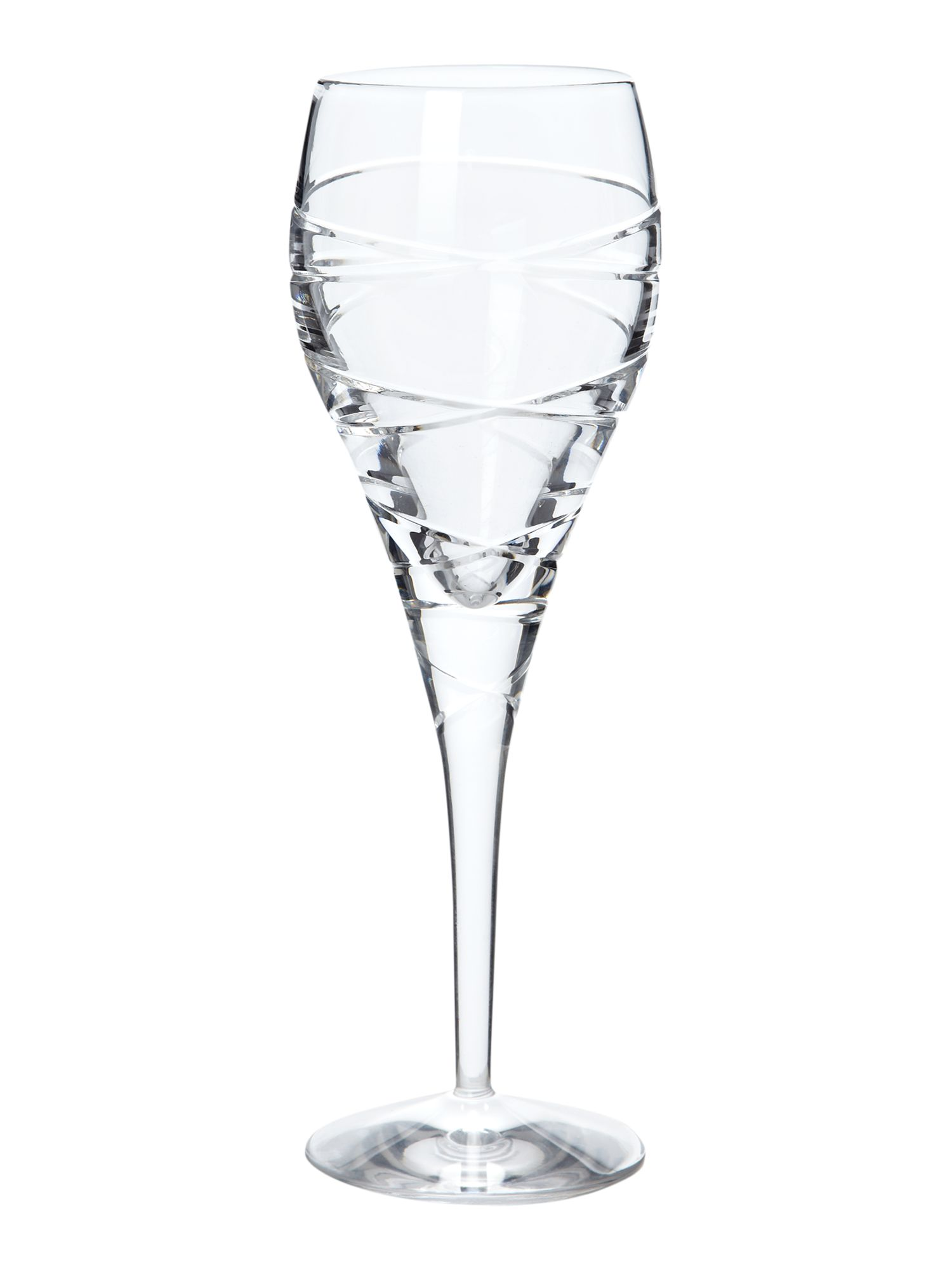Spiral white wine glass