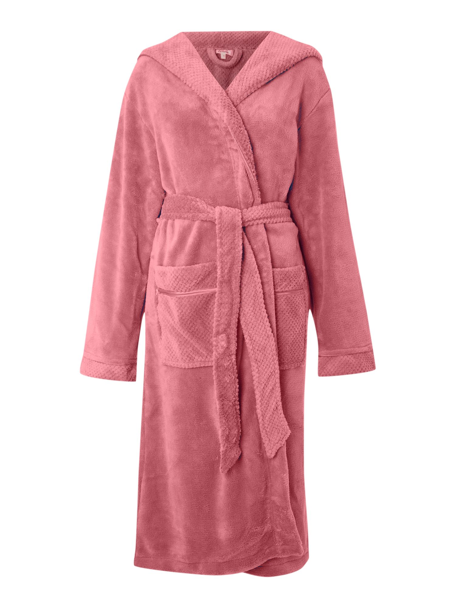 Women's Linea Cosy soft robe with hood, Light Pink
