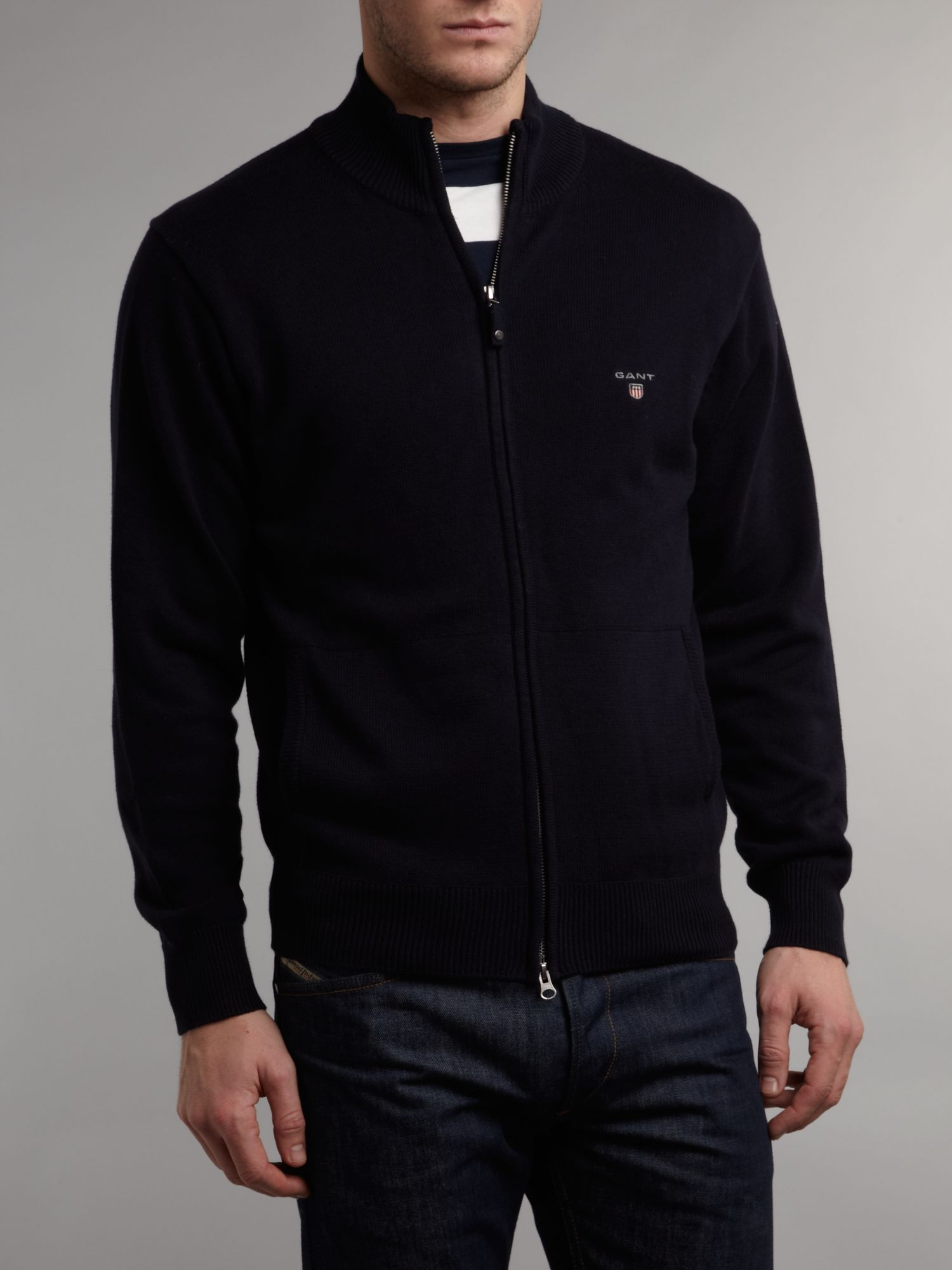 Funnel neck full zip cotton cardigan