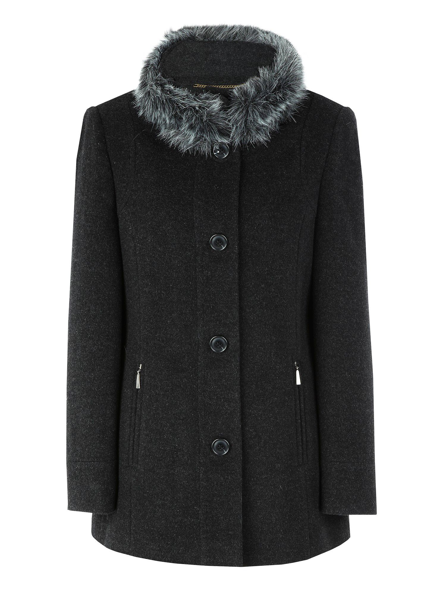 Short charcoal faux-fur collar coat