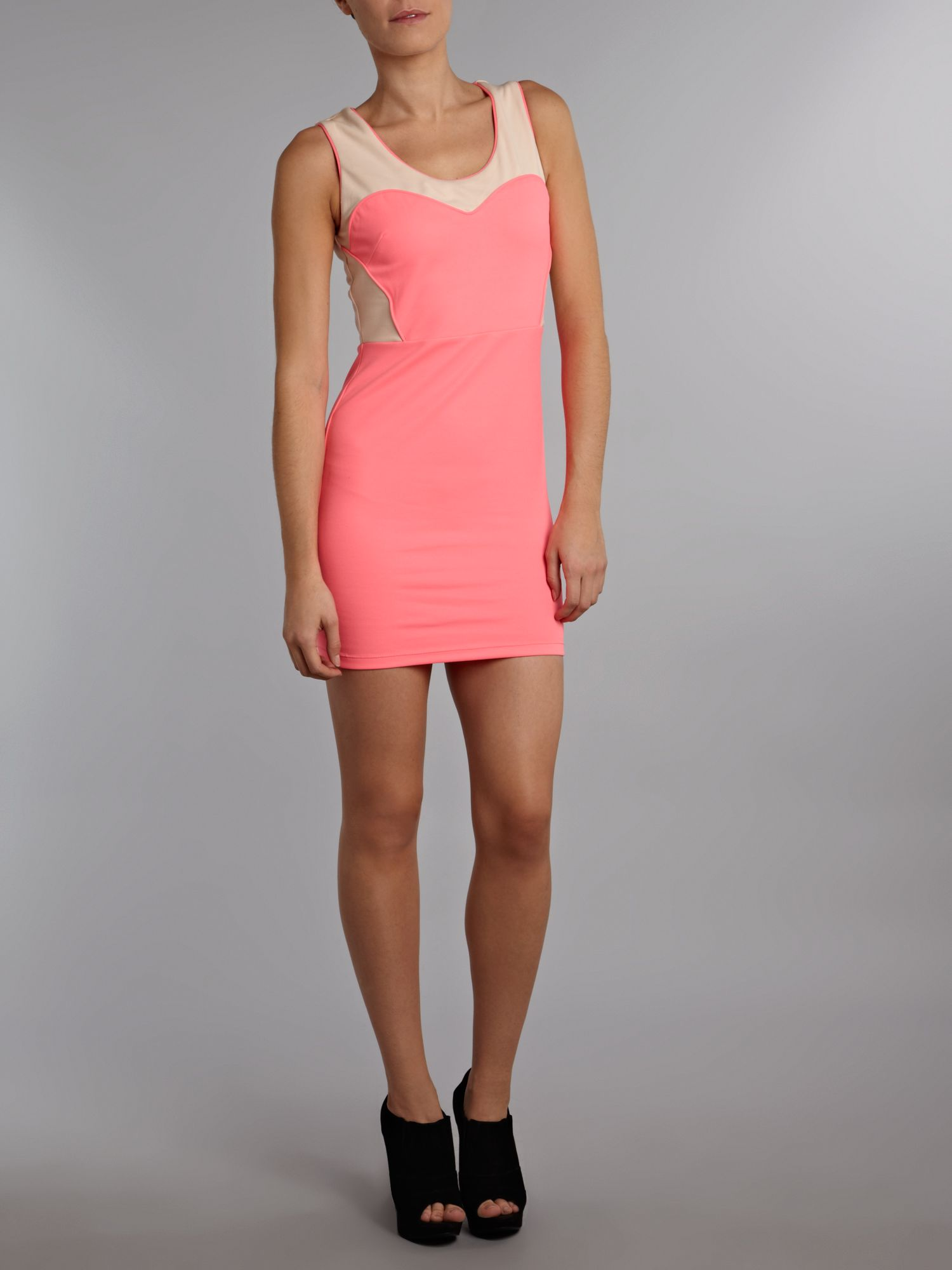 Sleeveless neon pink dress