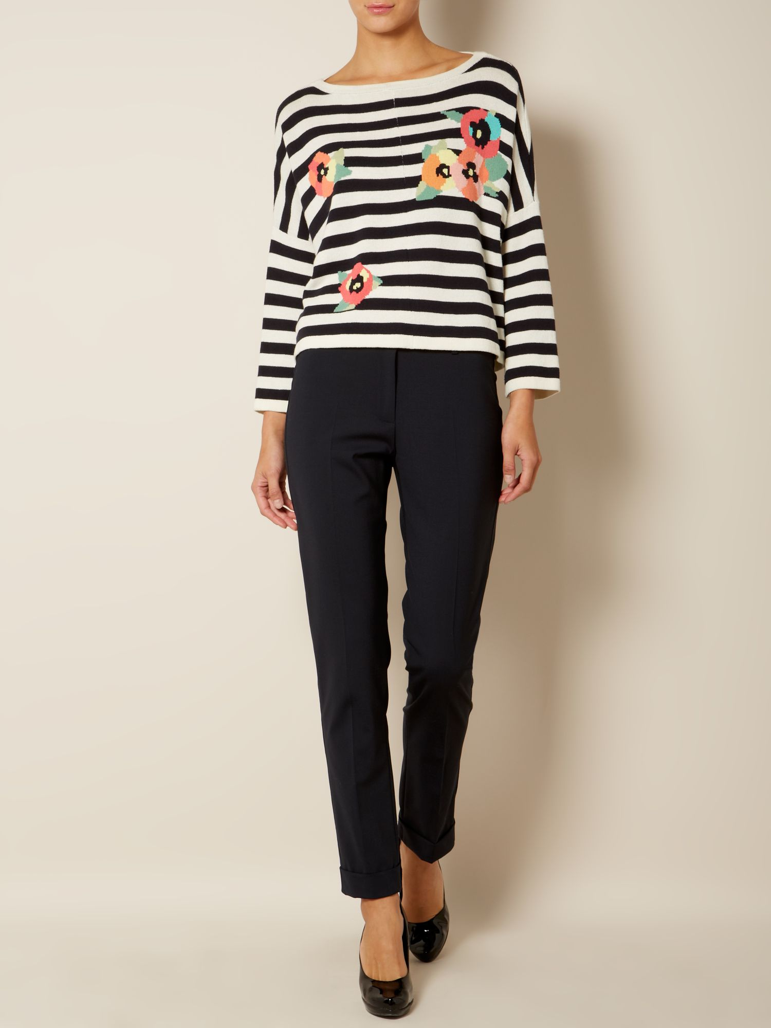Nespola floral striped top with floral detail