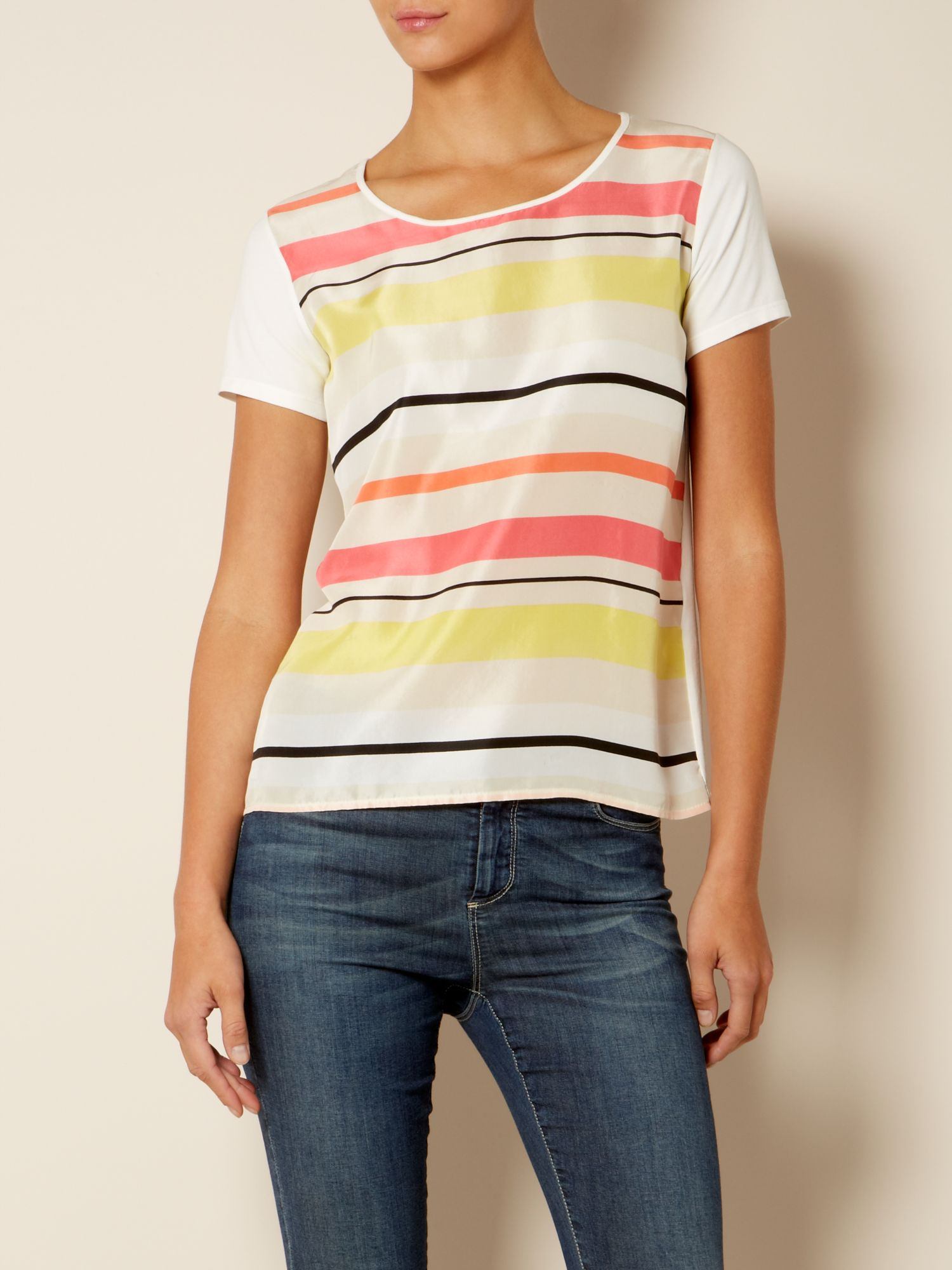Fama striped t-shirt with floral detail