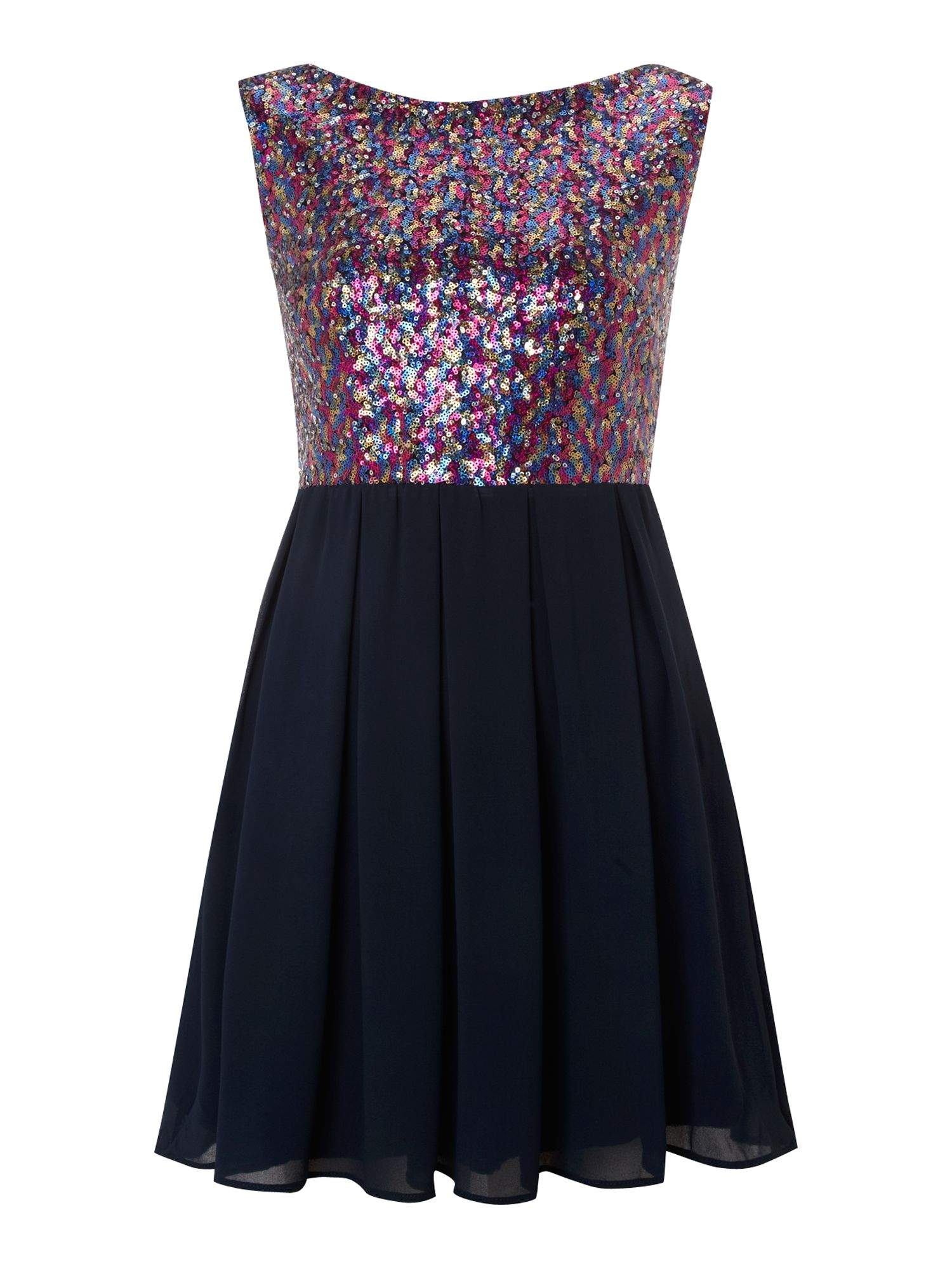Fit and flare multi sequin dress