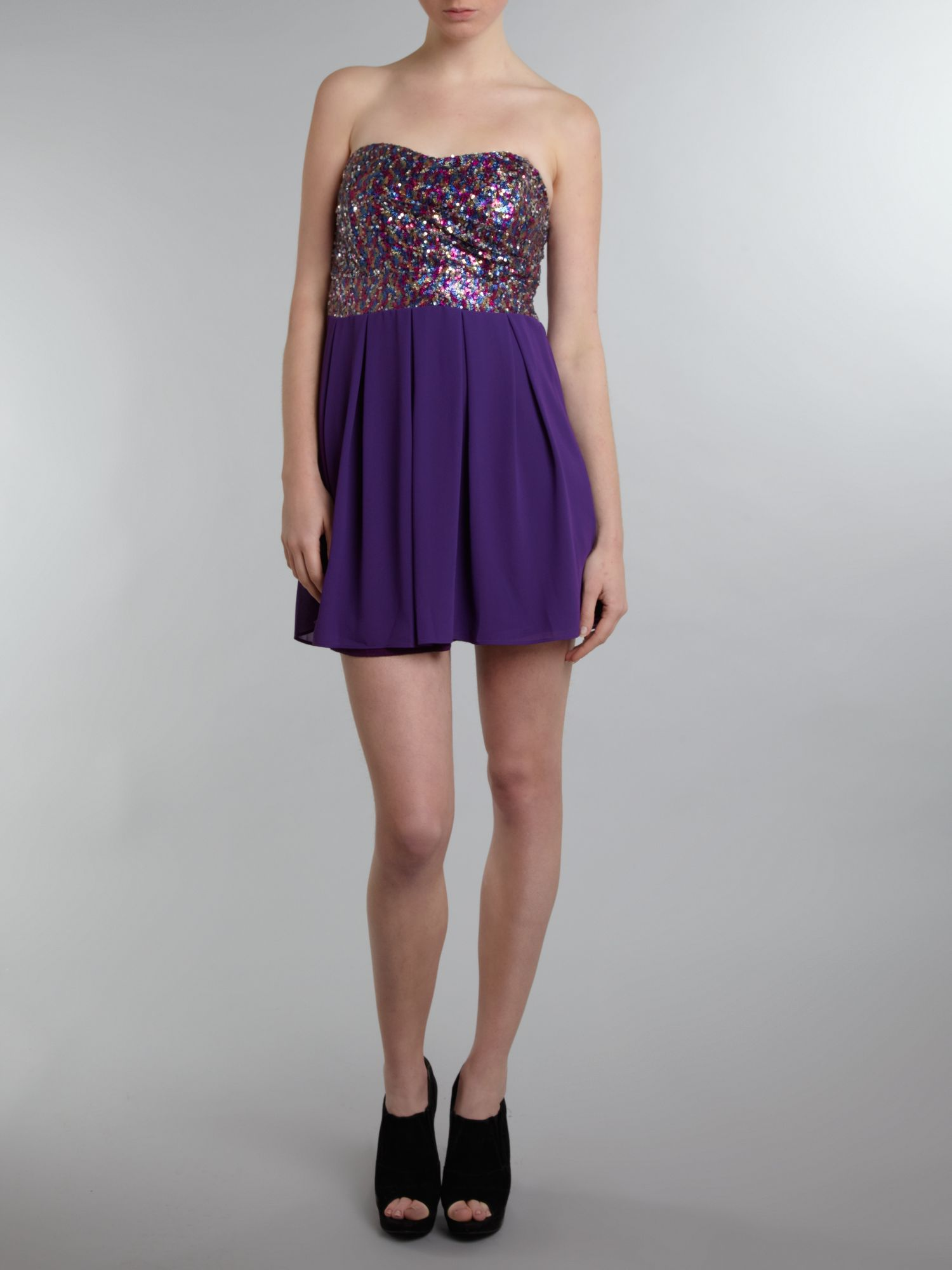 Multi sequin fit and flare dress