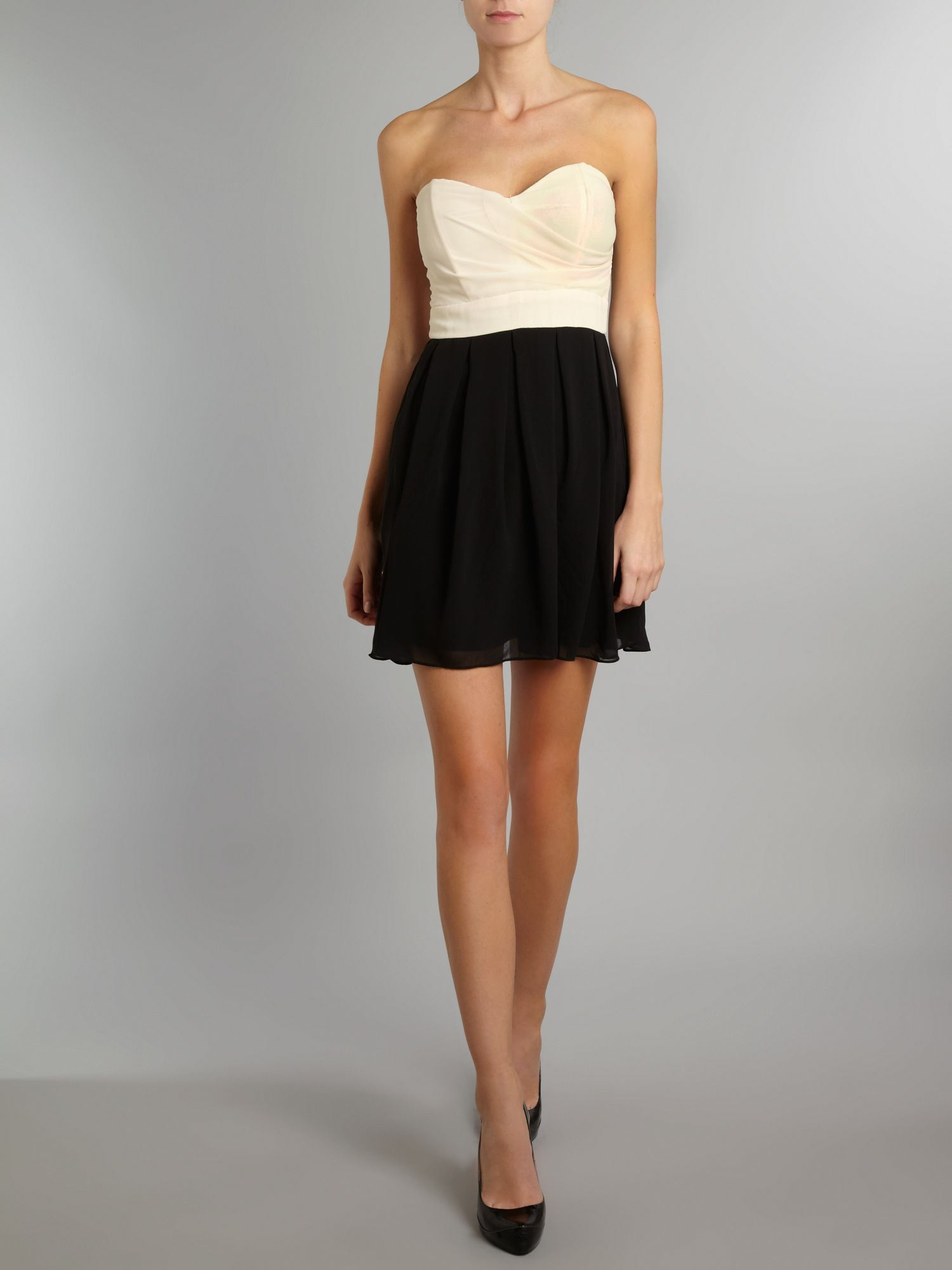 Sleeveless chiffon bustier dress