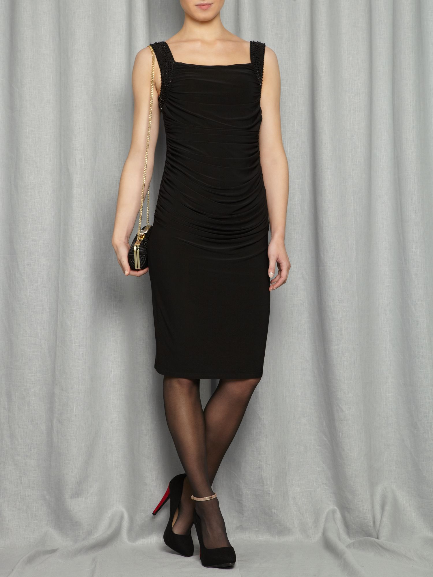 Studded ruched jersey dress