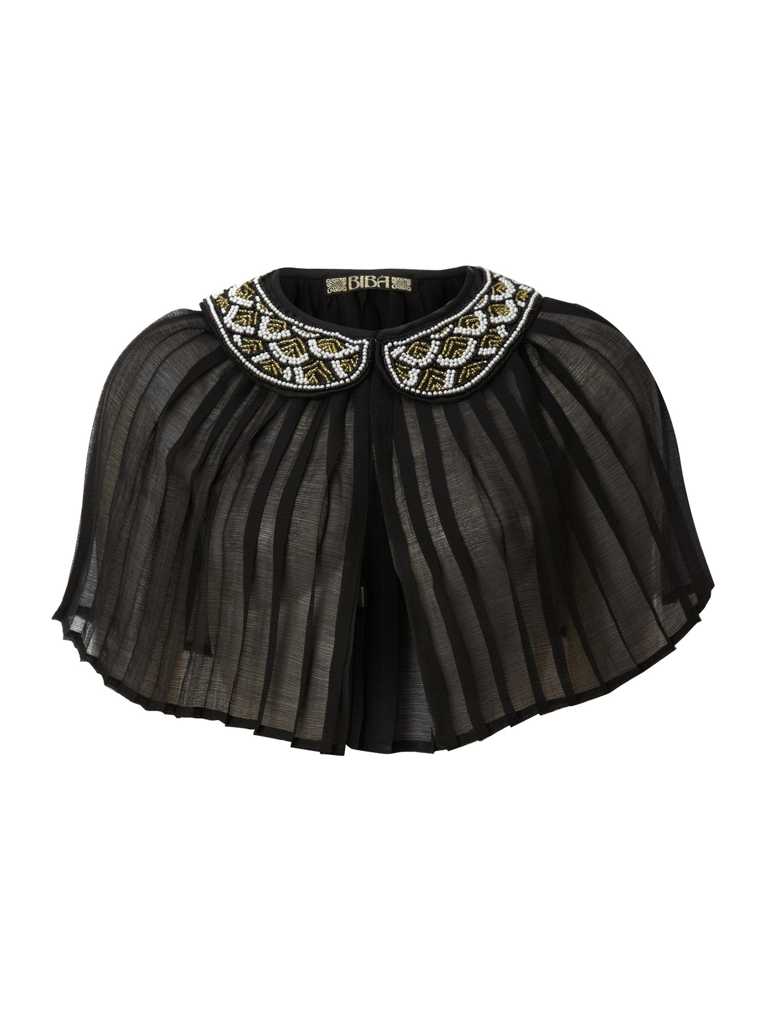 Pleated cape with art deco style beaded collar