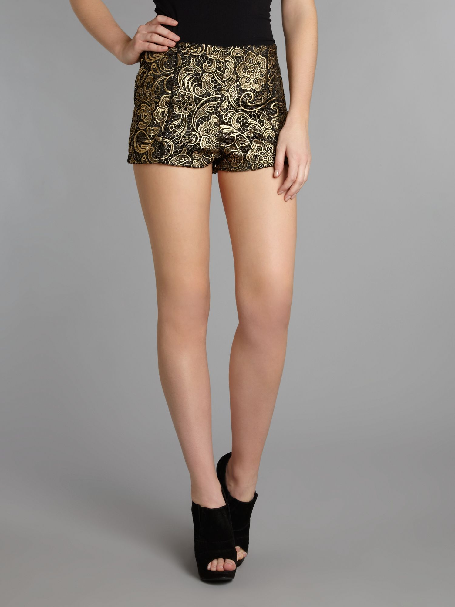 Brocade gold lace shorts