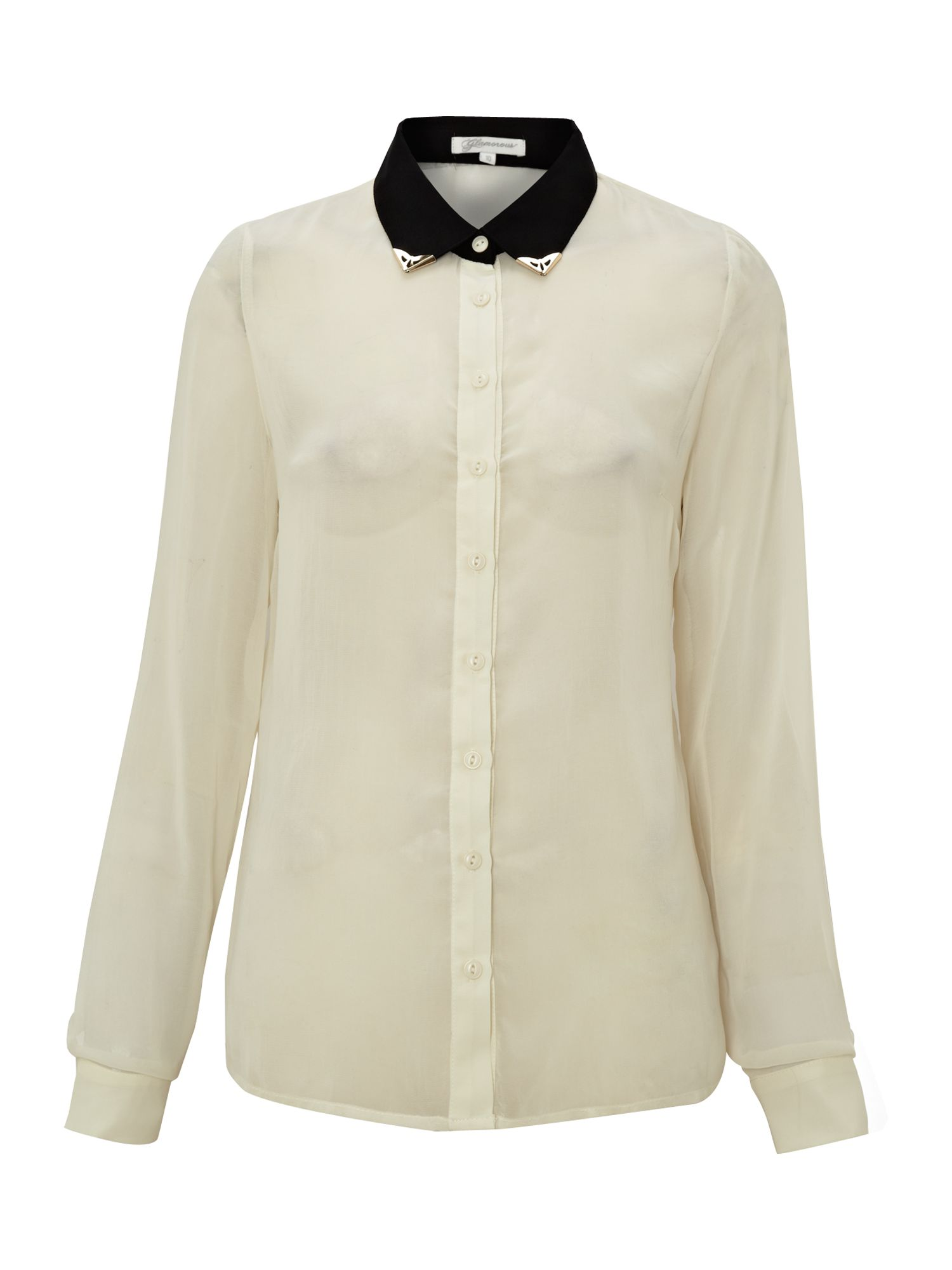 Long sleeve stud collar shirt