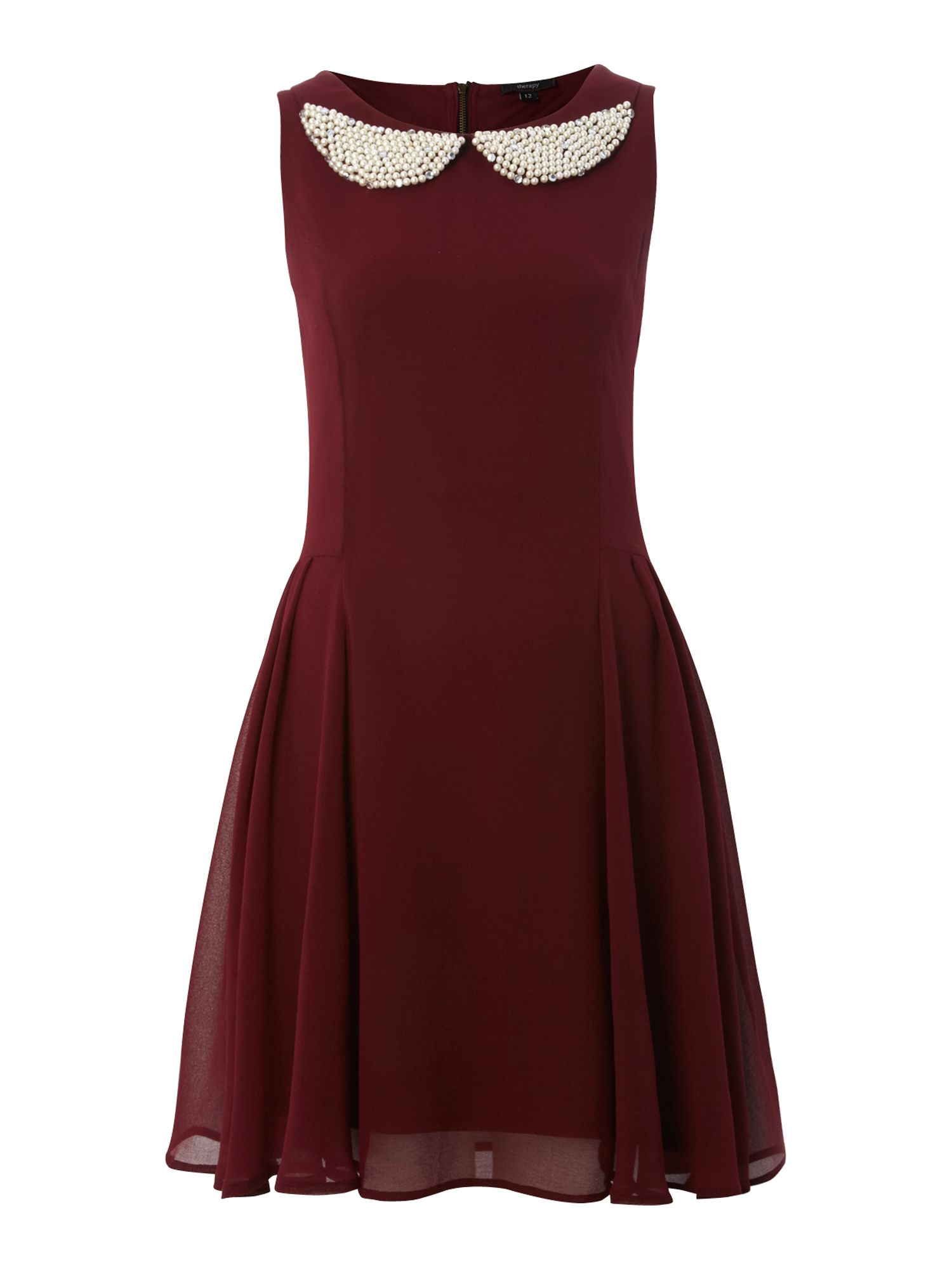 Party dress with pearls on a round collar
