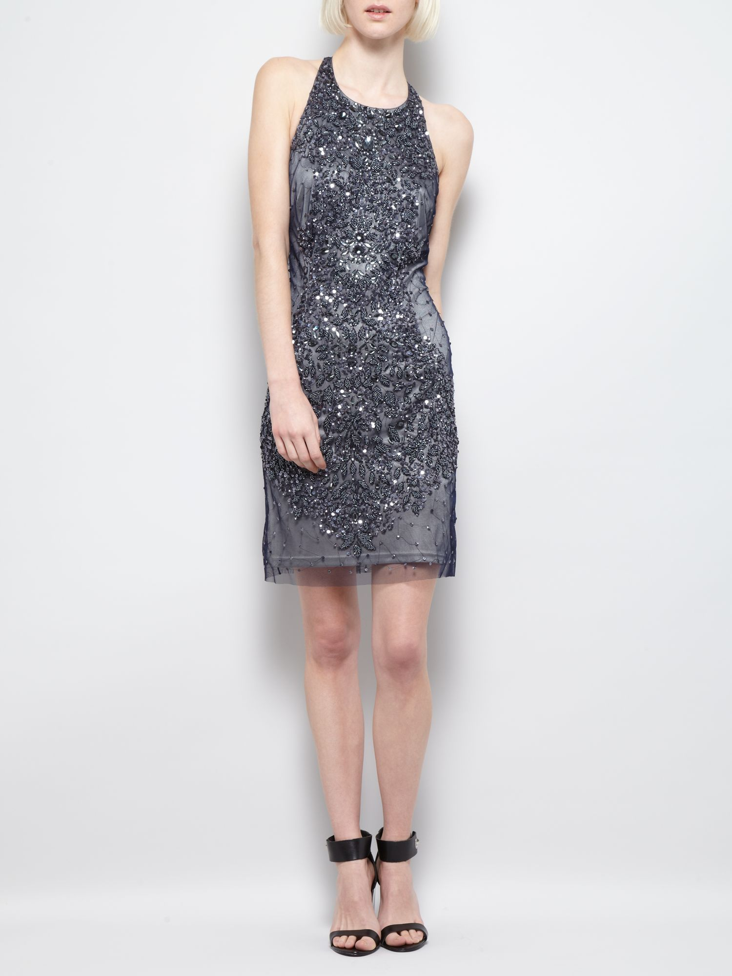 Embellished halterneck dress