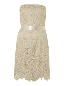 Strapless lace ribbon tie dress