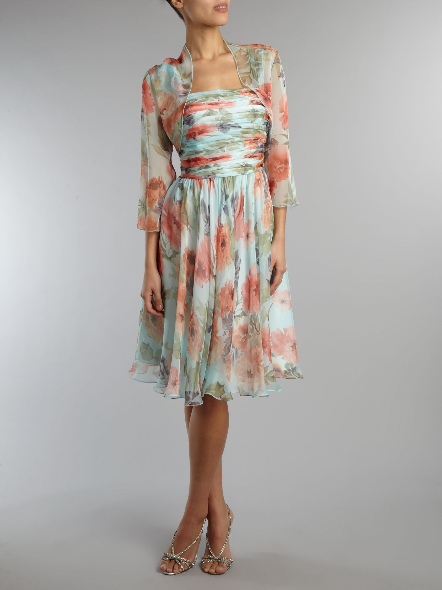 Floral chiffon dress and bolero