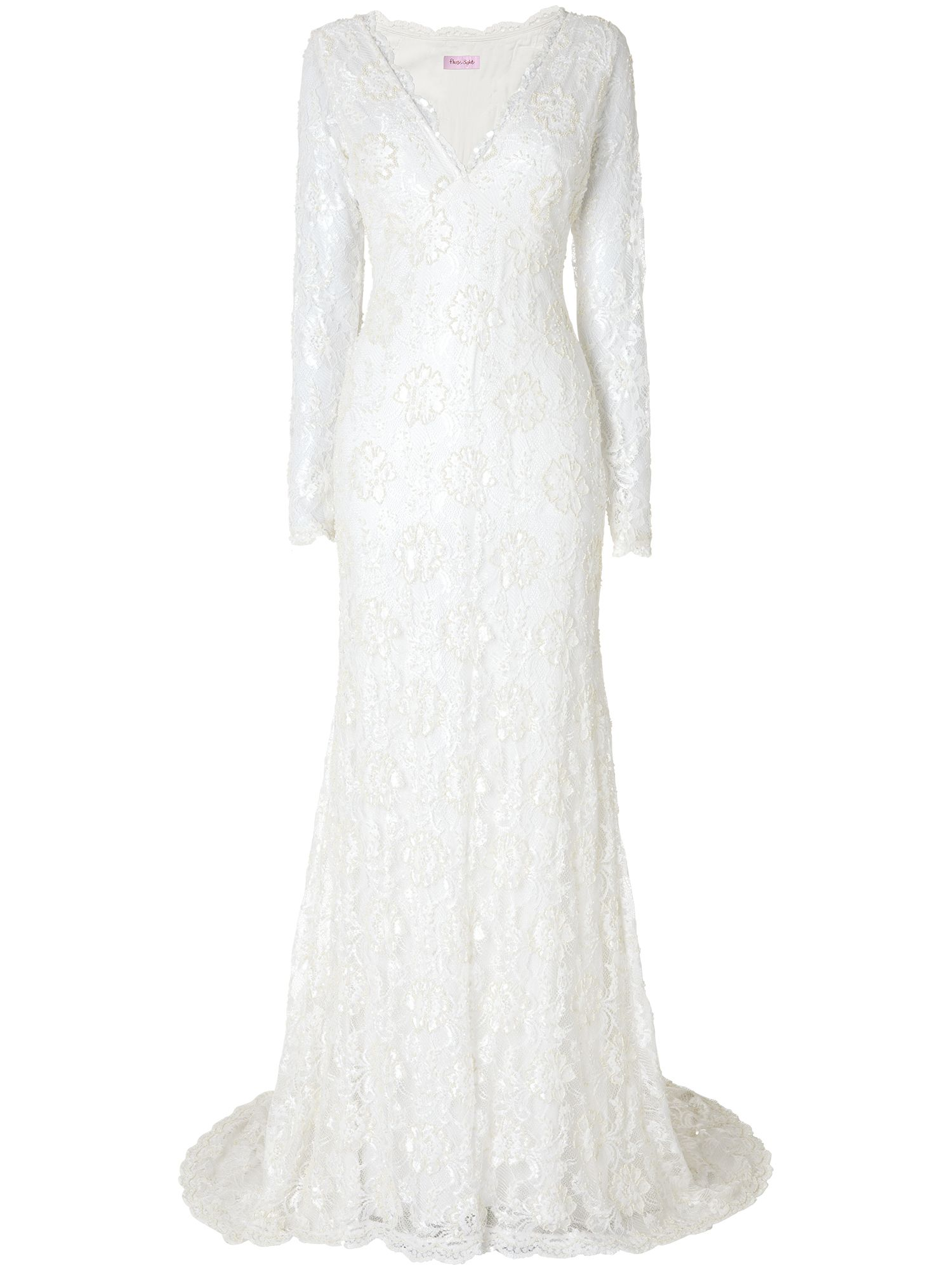 Phase Eight Evelyn lace beaded wedding dress, Cream
