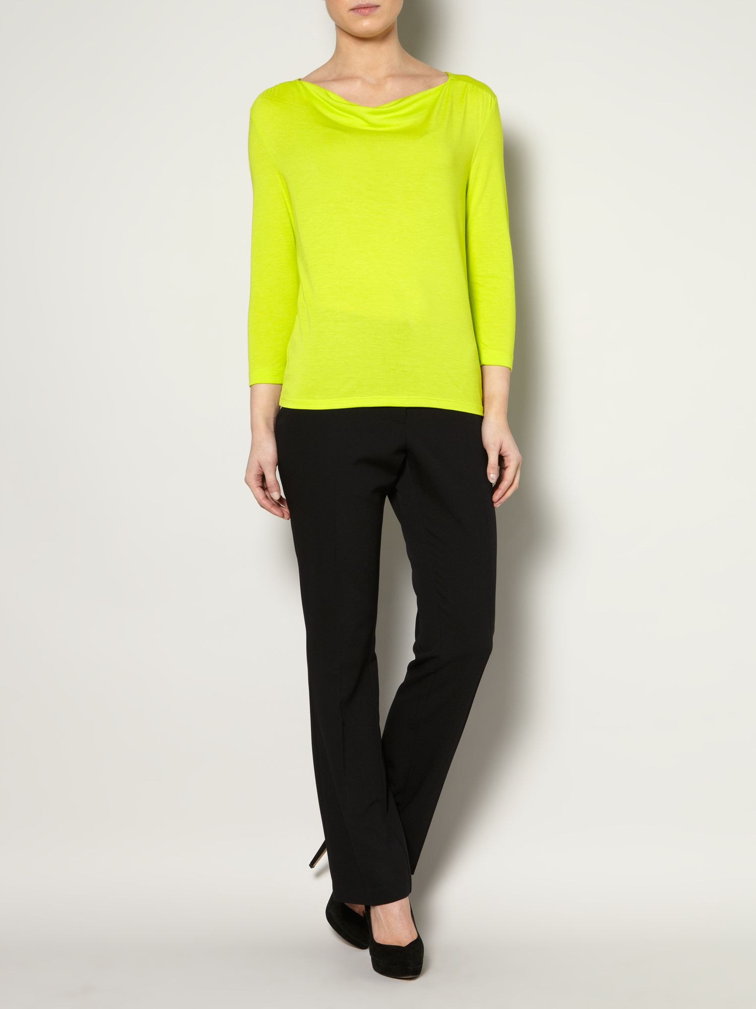 Cowl neck jersey top 3/4 sleeve