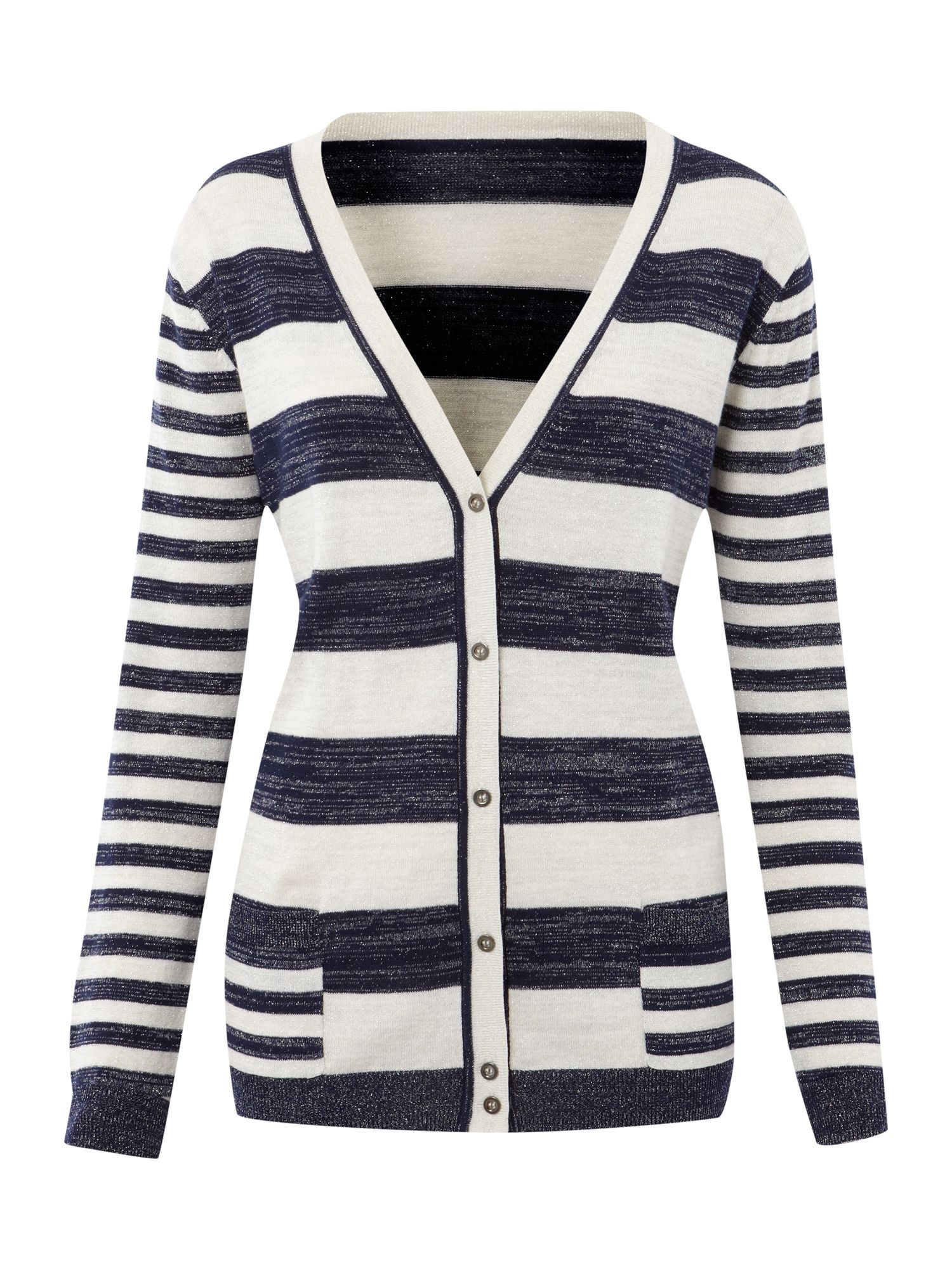 Ladies Knit Striped Lurex Cardigan
