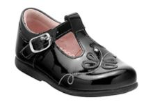 Girl`s pixie black patent first walker shoes