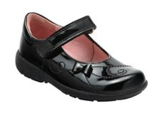 Girl`s paper black patent school shoes