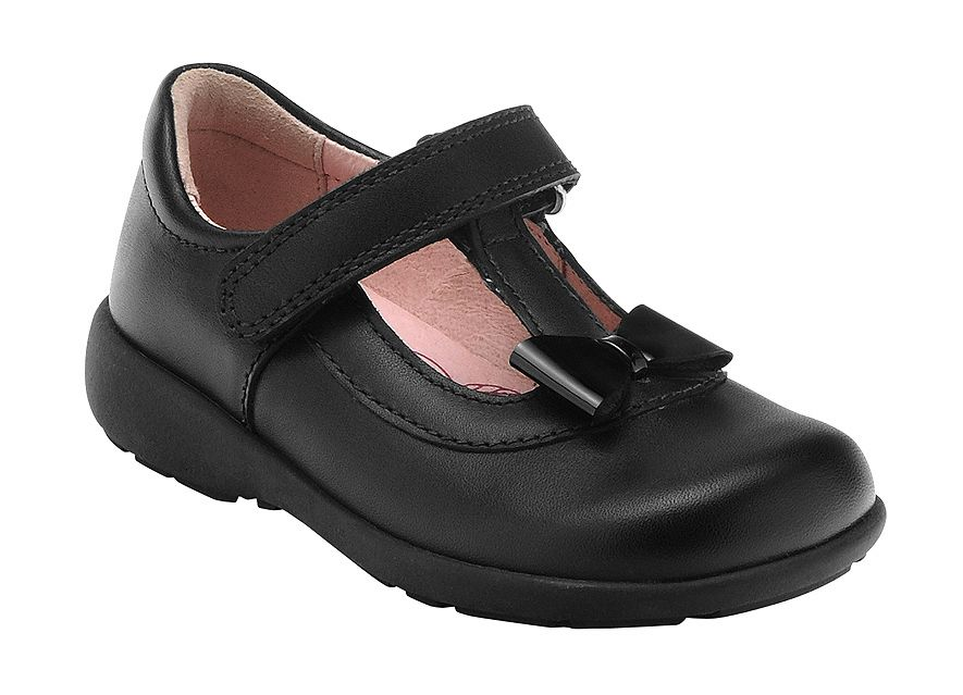 Girl`s alpha black school shoes