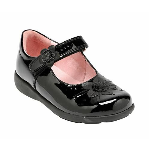 Girl`s violet black patent school shoes