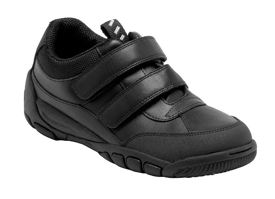 Boy`s lift off black school shoes
