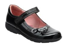 Girl`s stone black patent school shoes