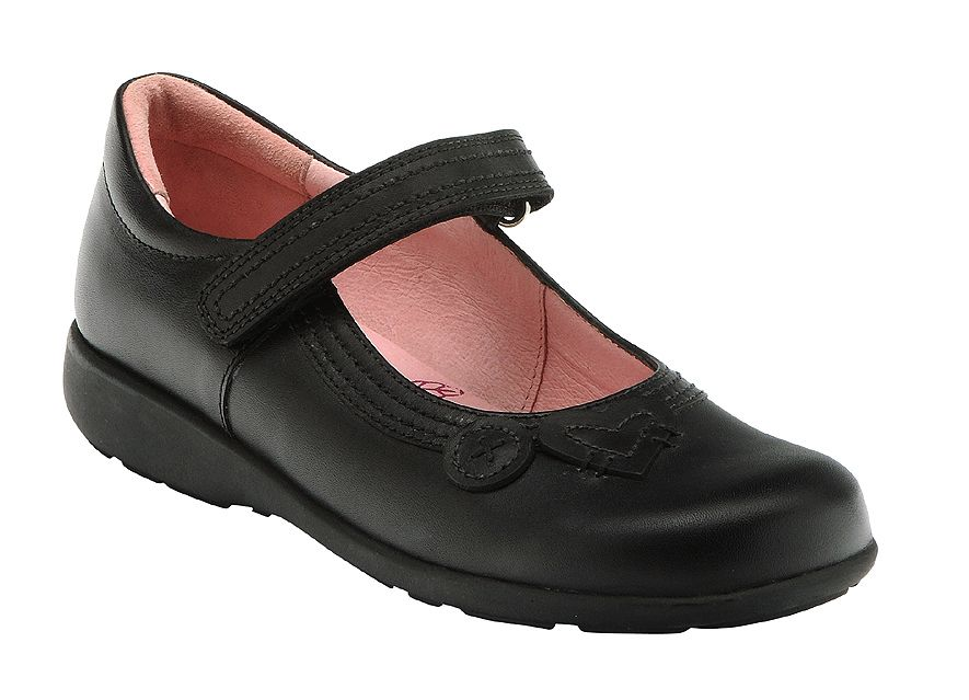 Girl`s stone black leather school shoes