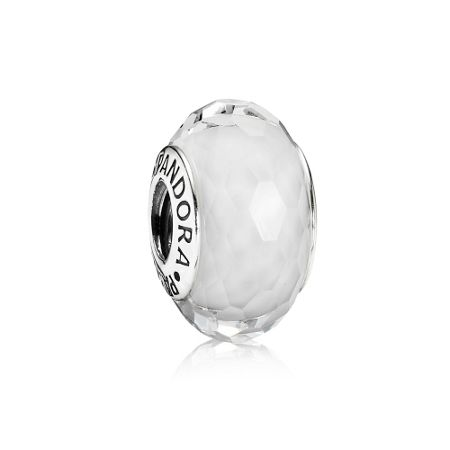 Pandora White Faceted Murano Charm