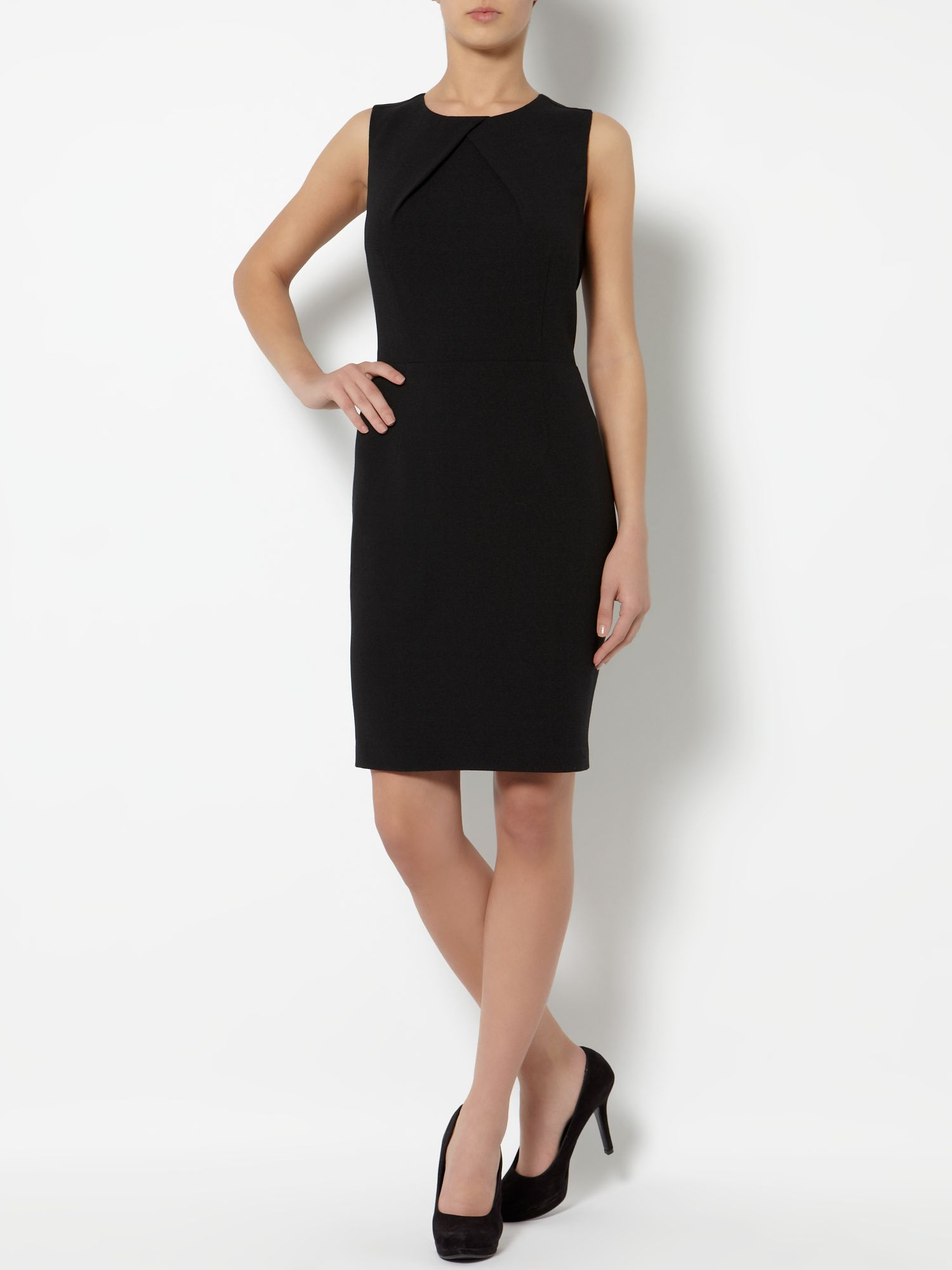 Pleat neck crepe shift dress