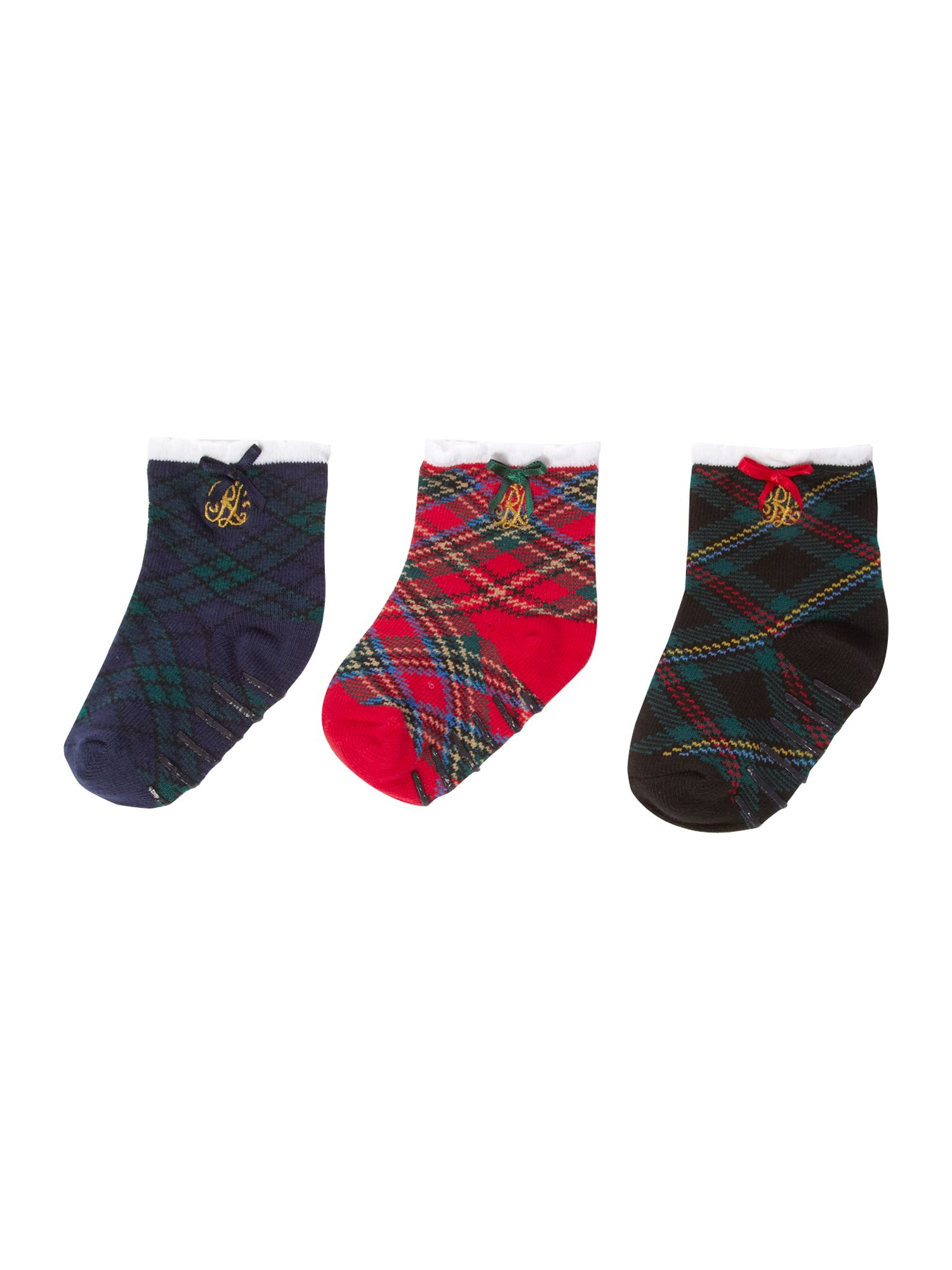Girl`s 3 pack of tartan socks