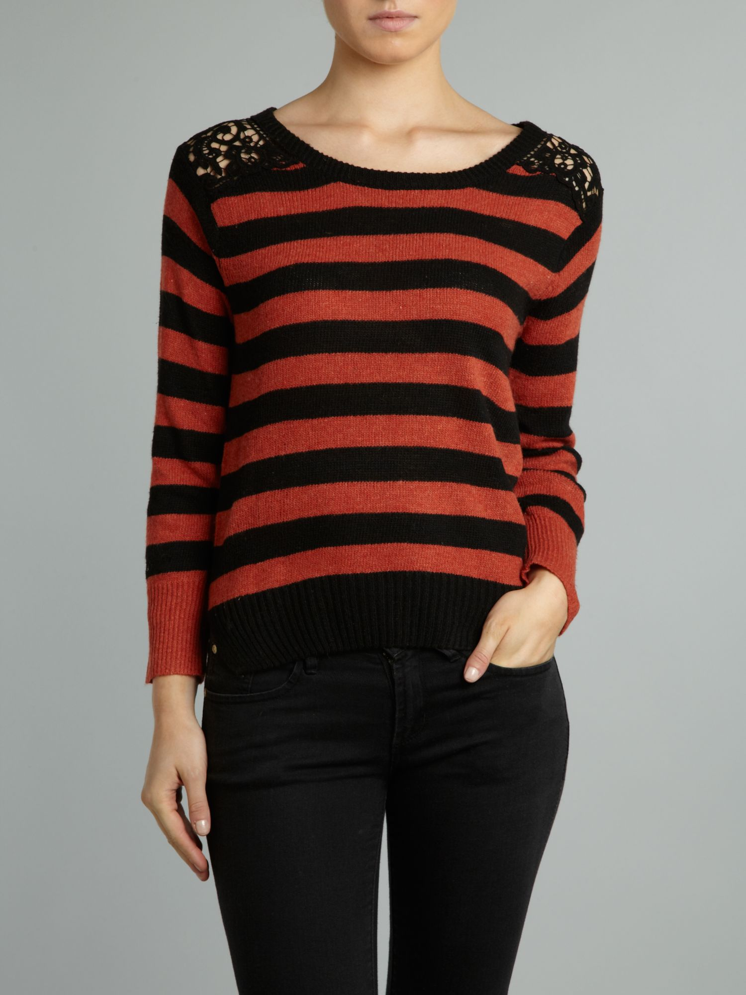 Crochet shoulder striped jumper