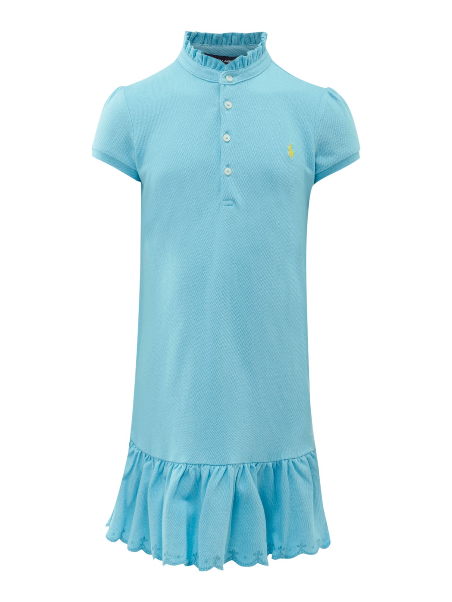 Girl`s frill polo dress with embroidered hem