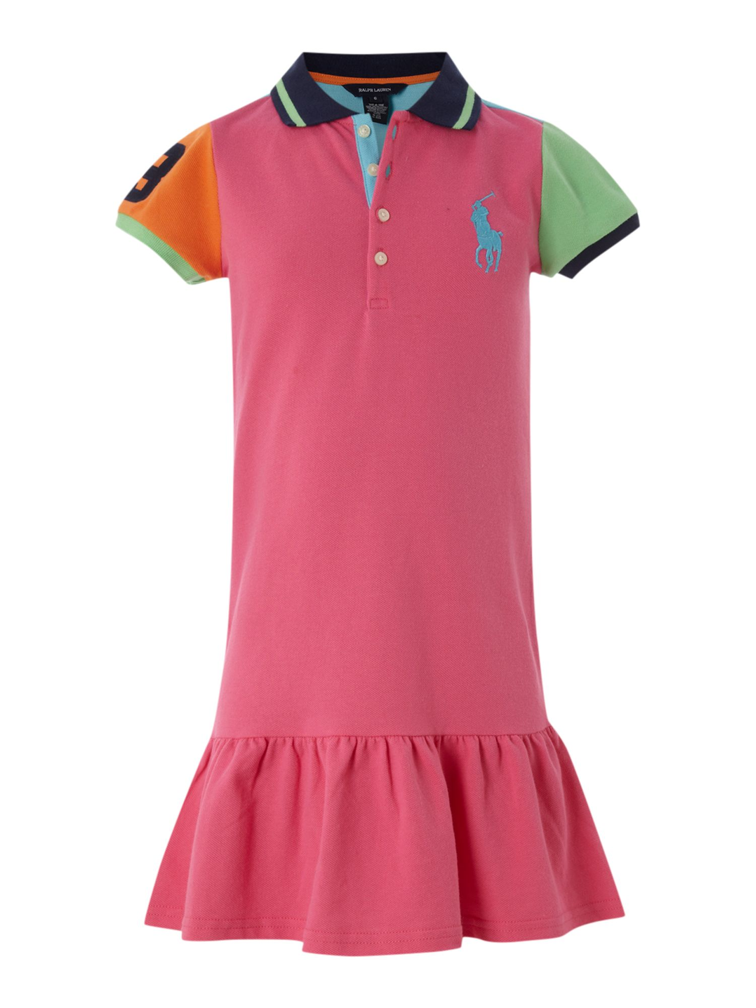 Girl`s pieced frill polo dress