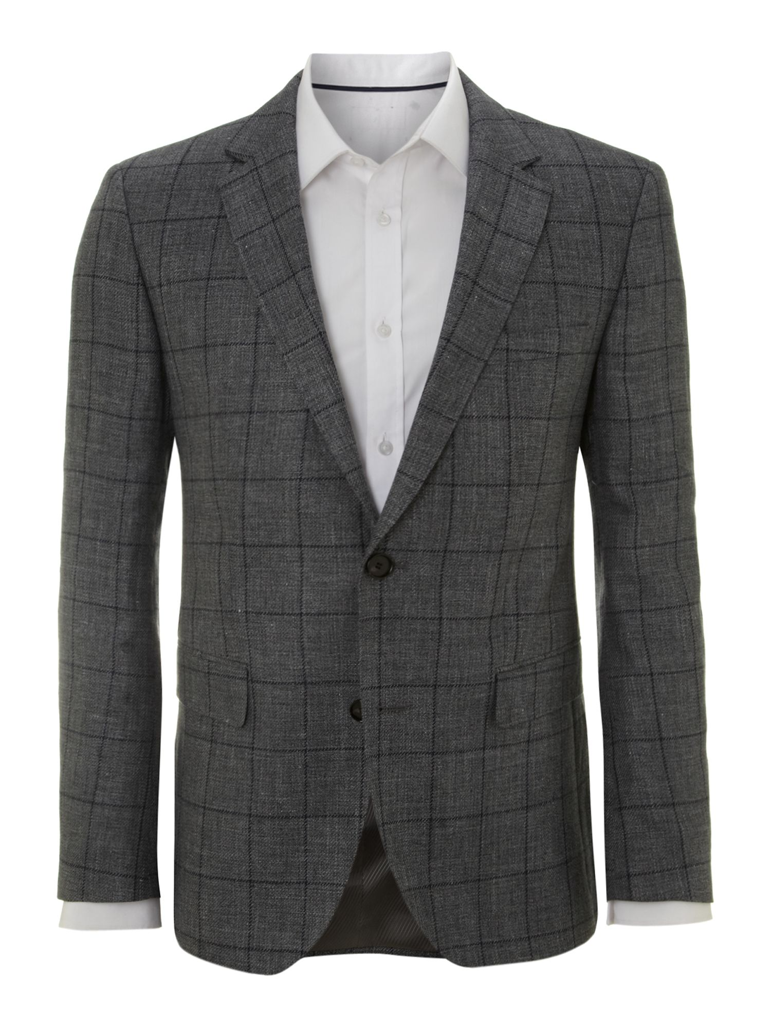 Men&39s Hugo Boss James linen check jacket Grey