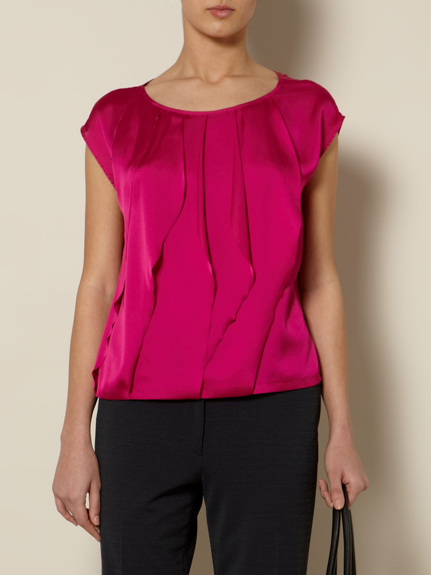 Waterfall front woven top