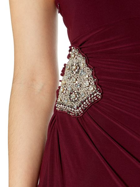 JS Collections One Shoulder Embellished Maxi Dress