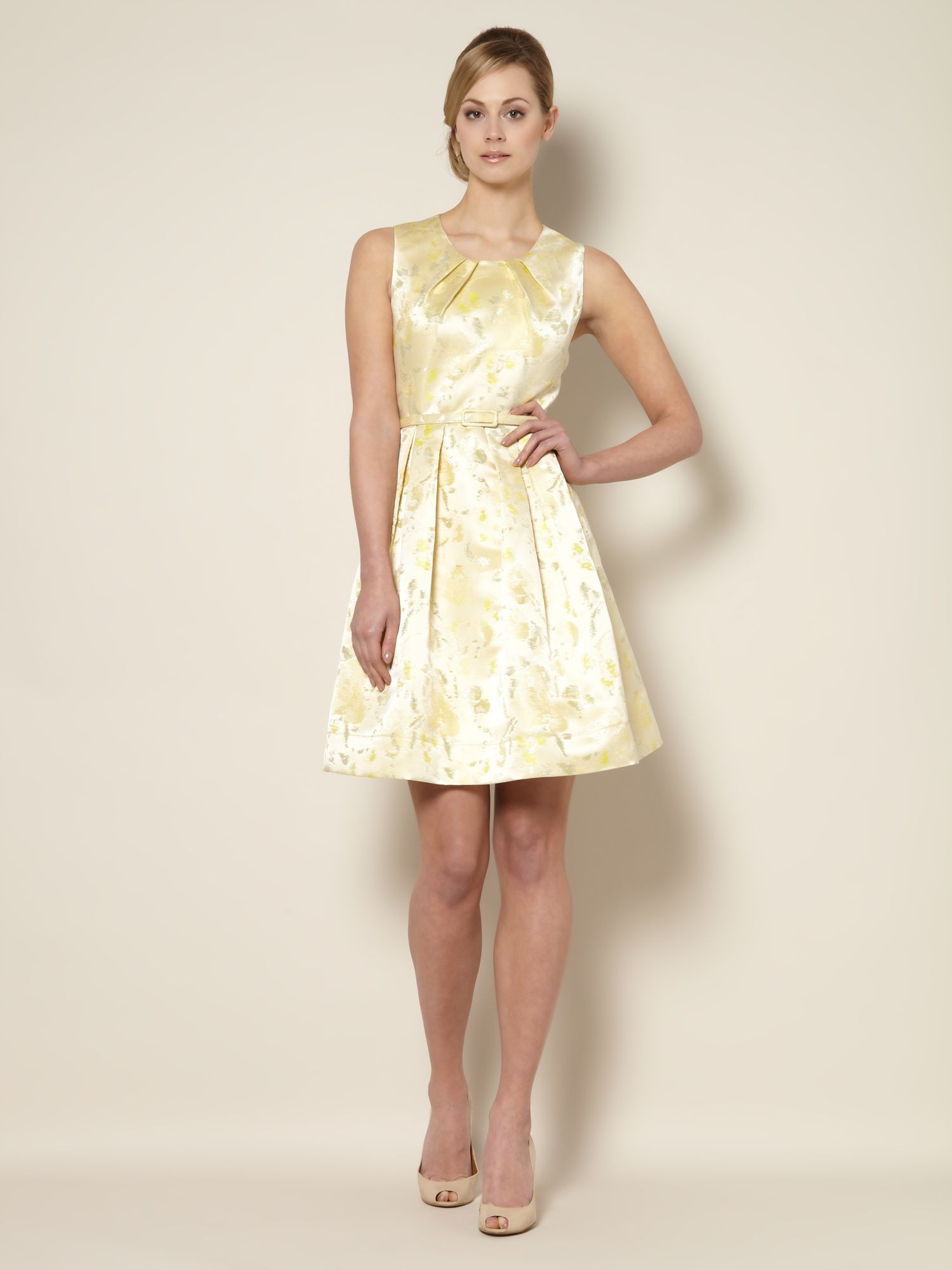 Full skirted jacquard dress