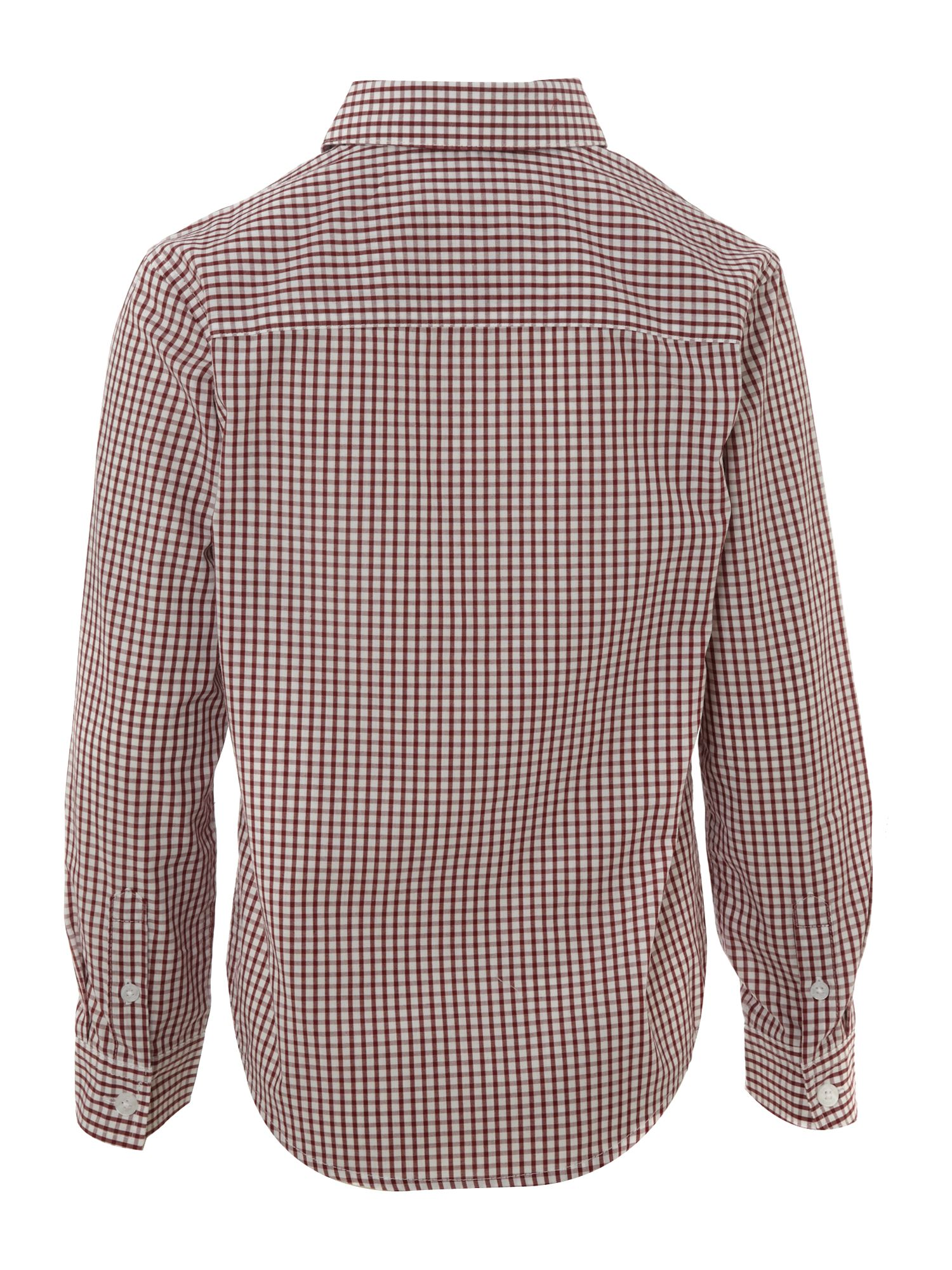 Boy`s long-sleeved gingham print shirt