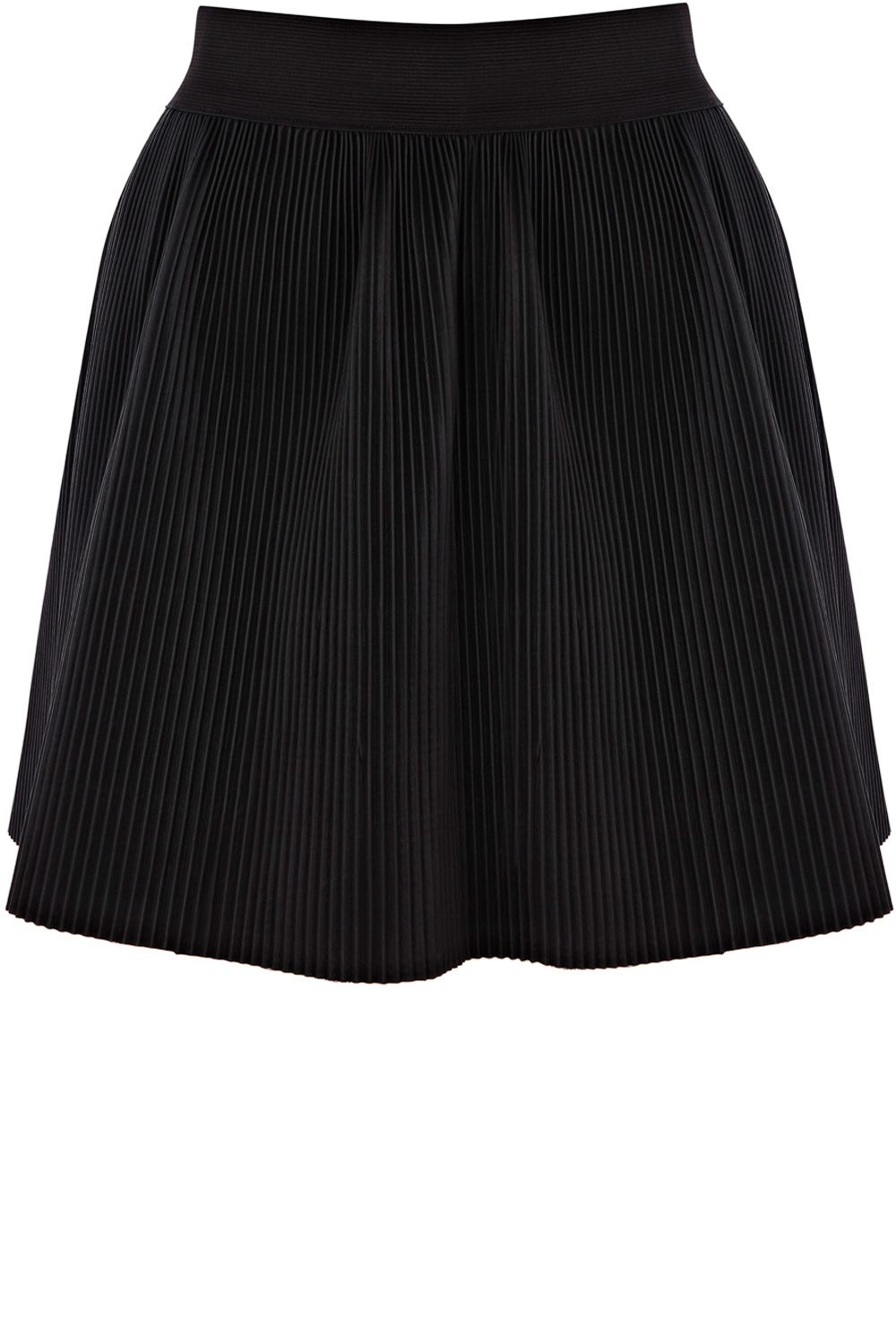 Pleated faux leather mini