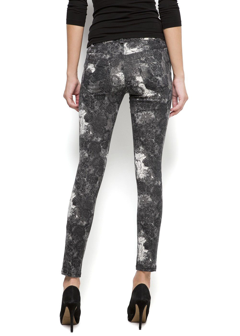 Printed elastic trousers