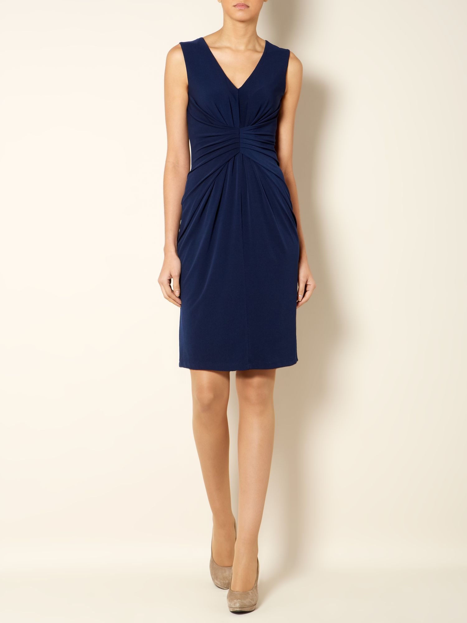 Sleeveless ruch front dress