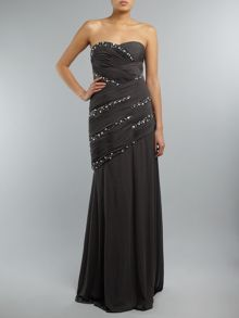 JS Collections Strapless embellished full length dress